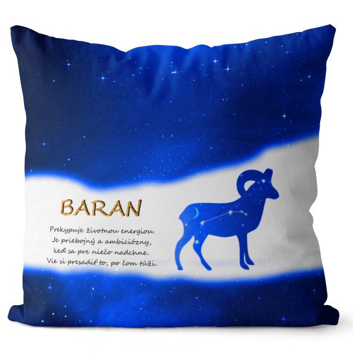 Vankúš Znamenie Baran (21.3. - 20.4.) - modrý (Veľkosť: 40 x 40 cm)