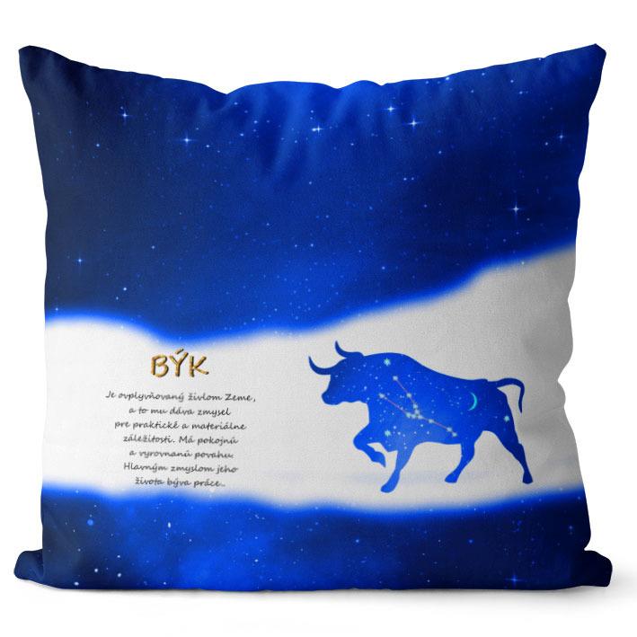 Vankúš Znamenie Býk (21.4. - 21.5.) - modrý (Veľkosť: 40 x 40 cm)