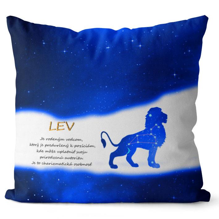 Vankúš Znamenie Lev (23.7. - 22.8.) - modrý (Veľkosť: 40 x 40 cm)