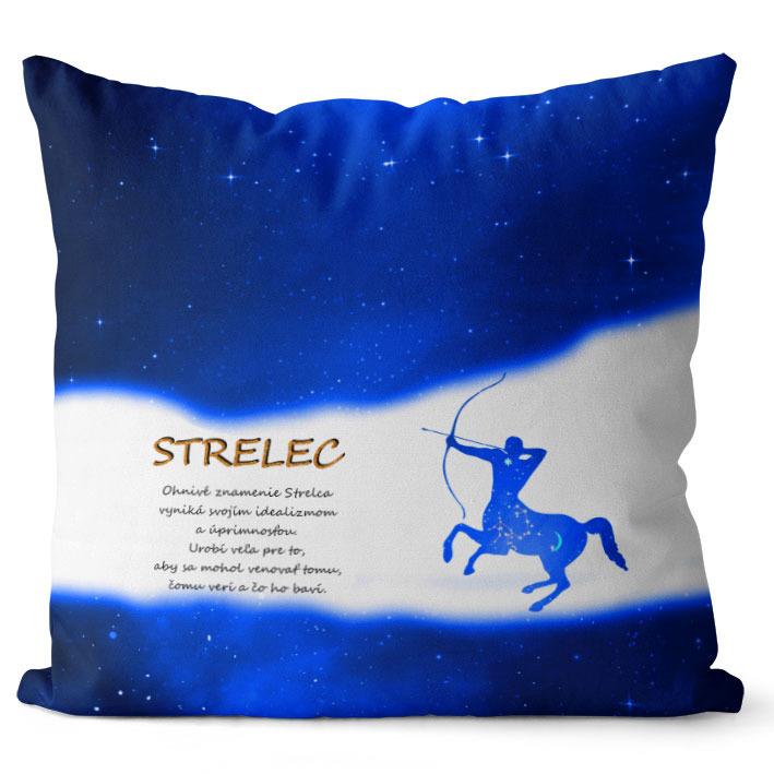 Vankúš Znamenie Strelec (23.11. - 21.12.) - modrý (Veľkosť: 40 x 40 cm)