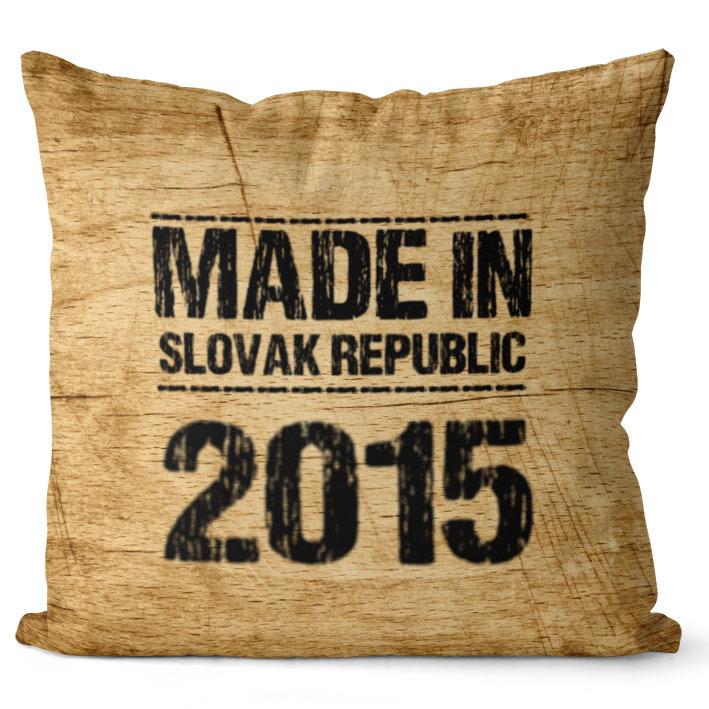 Vankúš Made In + rok (Veľkosť: 55 x 55 cm, rok: 2015)