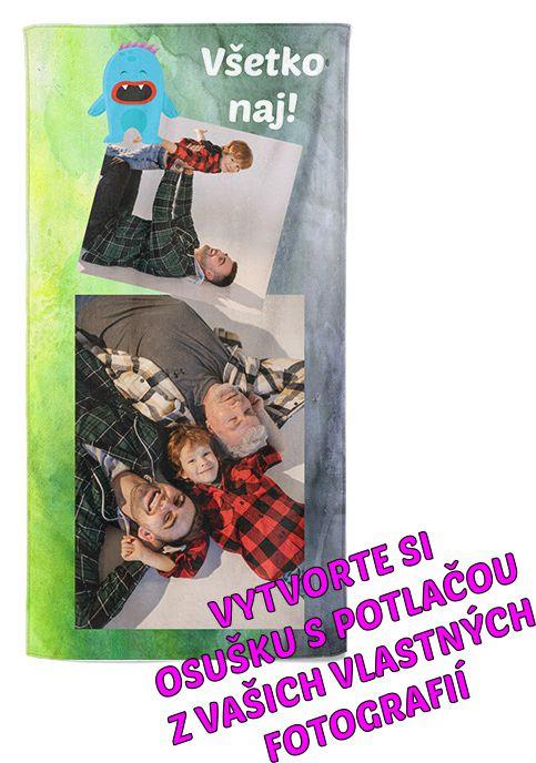 Osuška 70x140cm s neobmedzeným počtom fotografií, textov, farieb pre syna