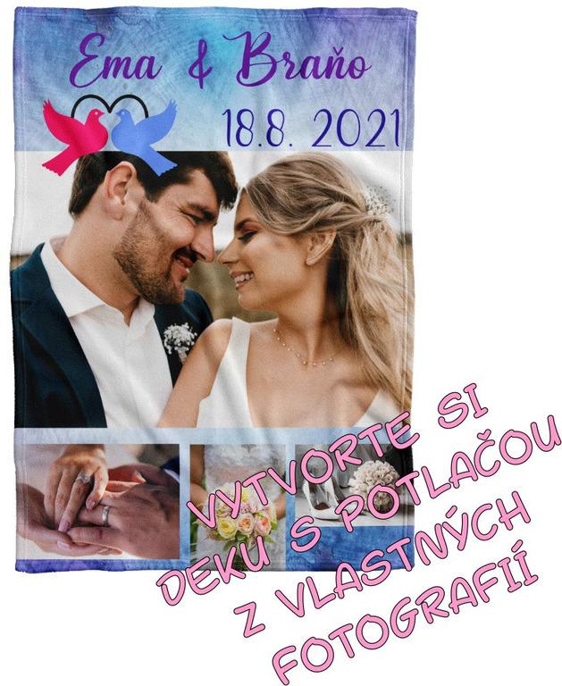 Deka Maxi s neobmedzeným počtom fotografií, textov, farieb 360g/m² 140x200 cm k rozlúčke a svadbe