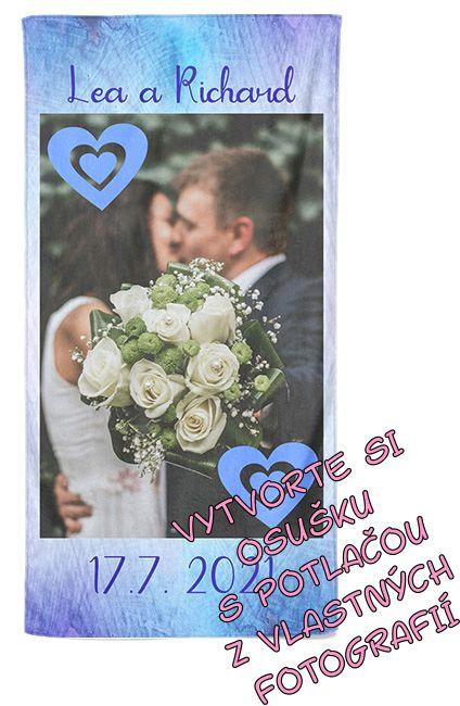 Osuška 70x140cm s neobmedzeným počtom fotografií, textov, farieb k rozlúčke a svadbe
