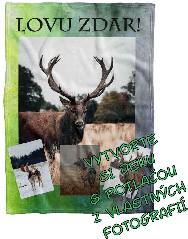 Deka Maxi s neobmedzeným počtom fotografií, textov, farieb 360g/m² 140x200 cm pre poľovníkov