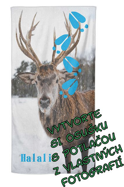 Osuška 70x140cm s neobmedzeným počtom fotografií, textov, farieb pre poľovníkov